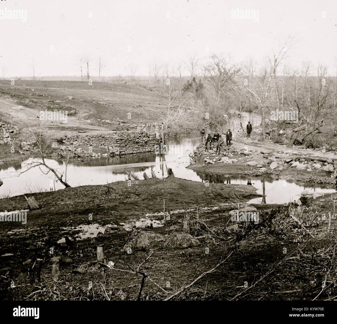 Cub Run, Va. View with destroyed bridge - Stock Image