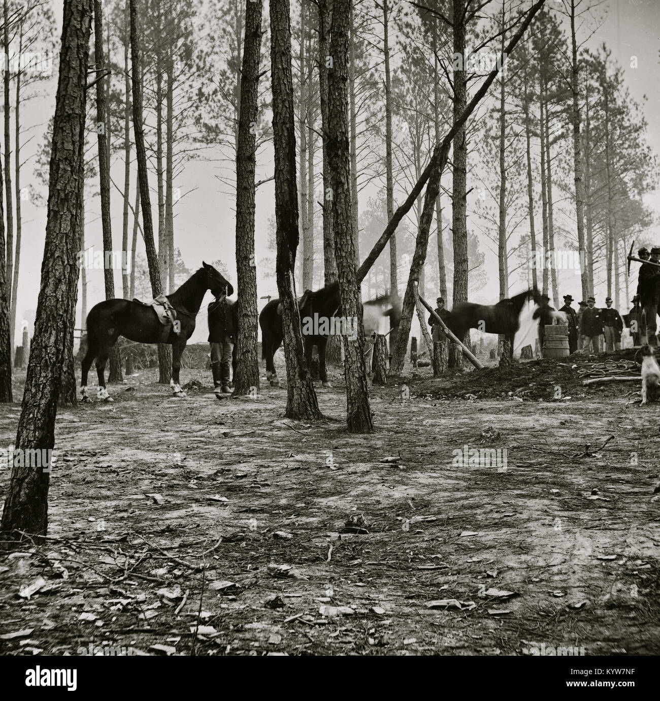 Cavalry detail at Gen. Adelbert Ames headquarters - Stock Image