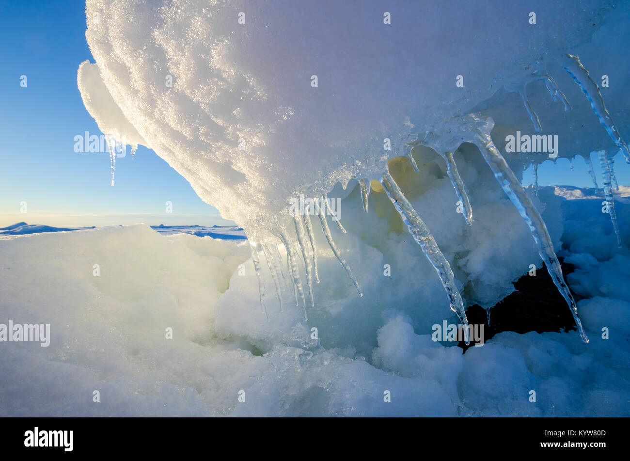 The ice floe on the shore of the White Sea - Stock Image