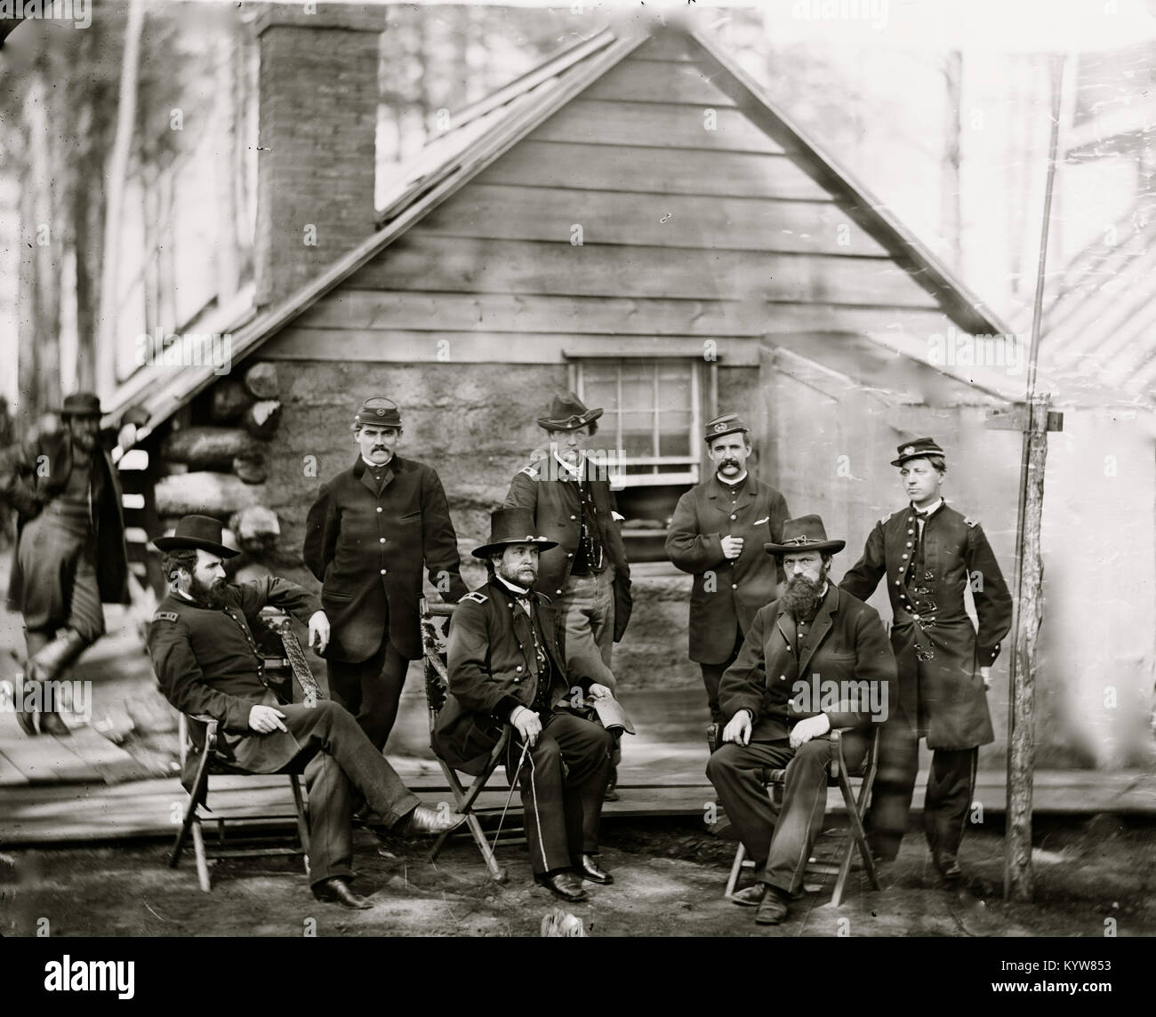 Brandy Station, Va. Gen. Rufus Ingalls and staff, Chief Quartermaster, and officers, Army of the Potomac headquarters - Stock Image