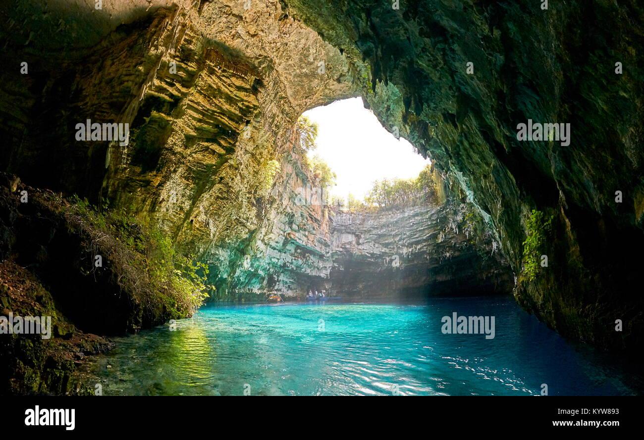 Underground lake in Melissani Cave, Kefalonia Island, Greece - Stock Image
