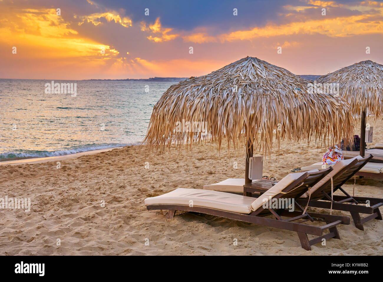 Gialos Beach at sunset, Kefalonia Island, Greece - Stock Image