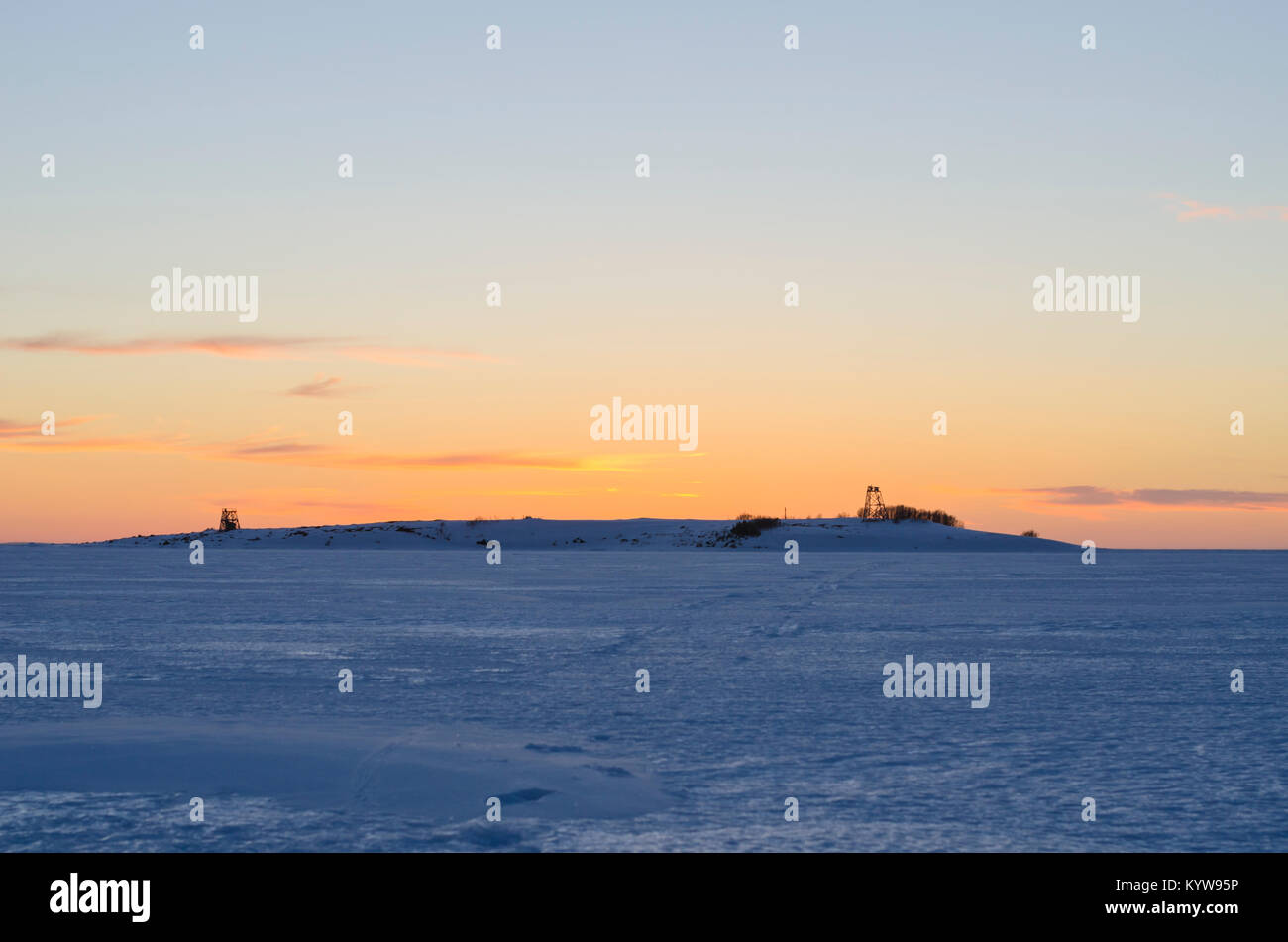 White sea in winter at sunset. Russia, Solovki Stock Photo