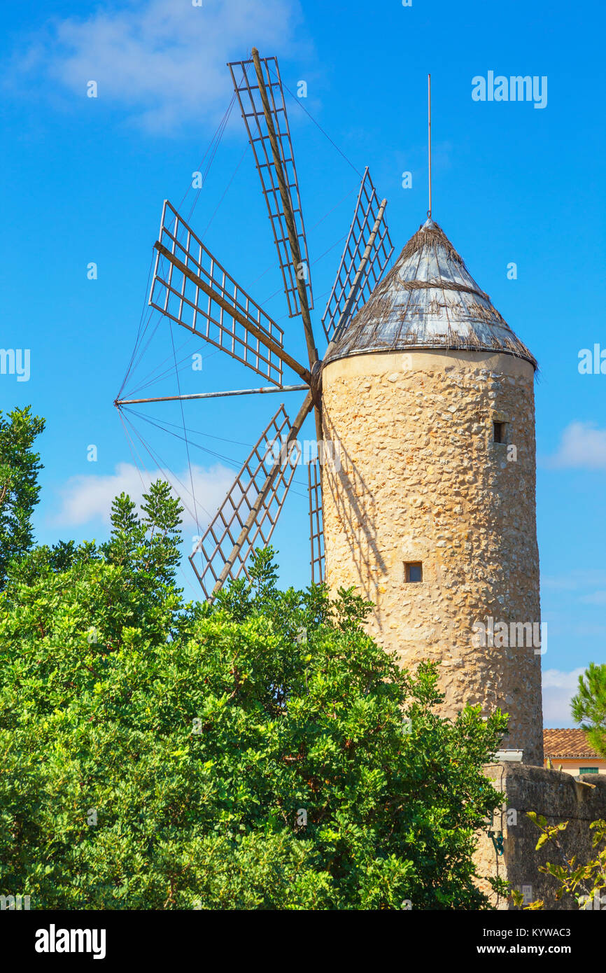 Windmill in Sineu, Mallorca, Balearic Islands, Spain, Europe - Stock Image