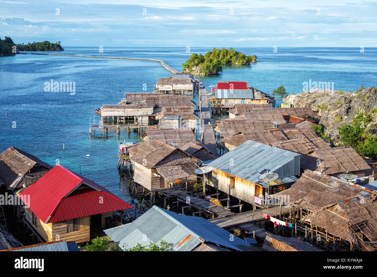 Stilt Village Pulau Papan in the gulf of Tomini at Togian Islands Sulawesi, Indonesia - Stock Image