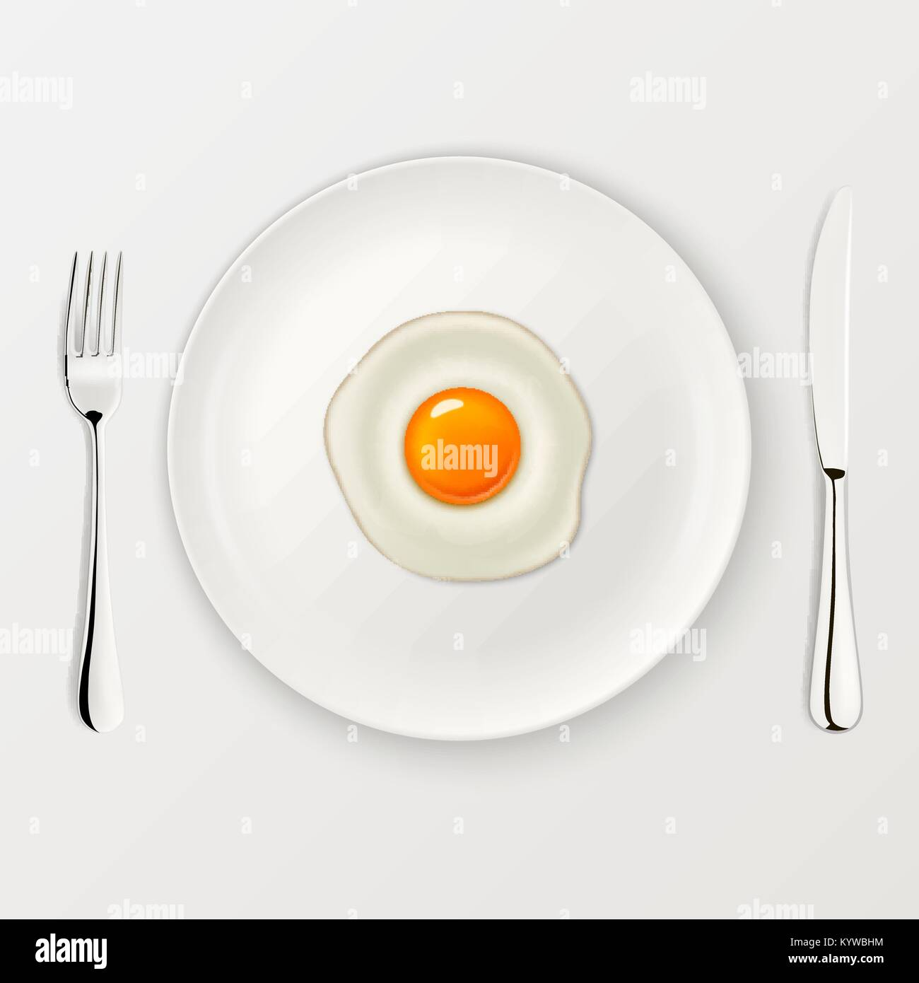 Realistic vector fried egg icon on a plate with fork and knife. Design template. - Stock Vector