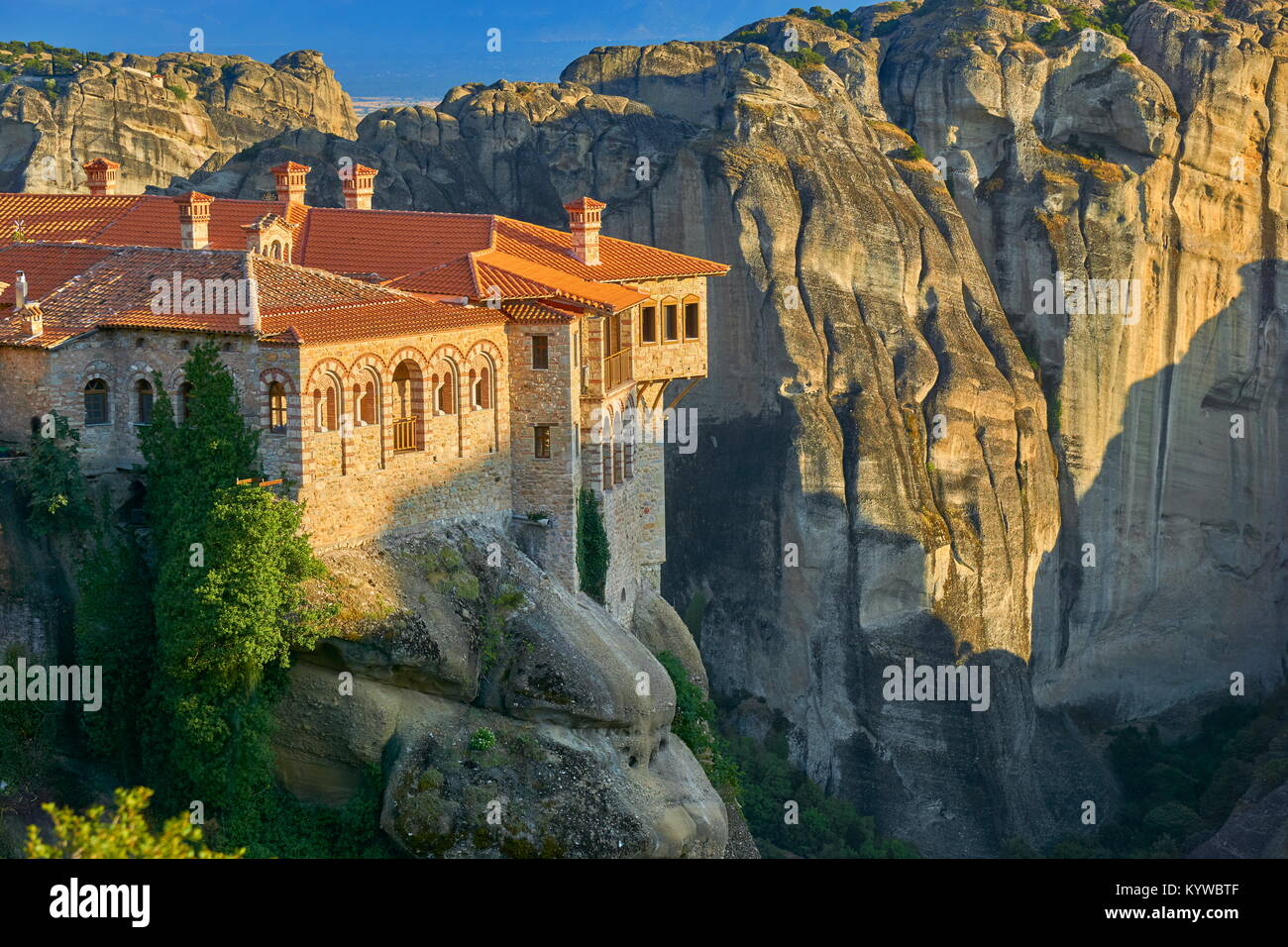 Varlaam Monastery at sunset time, Meteora, Greece - Stock Image