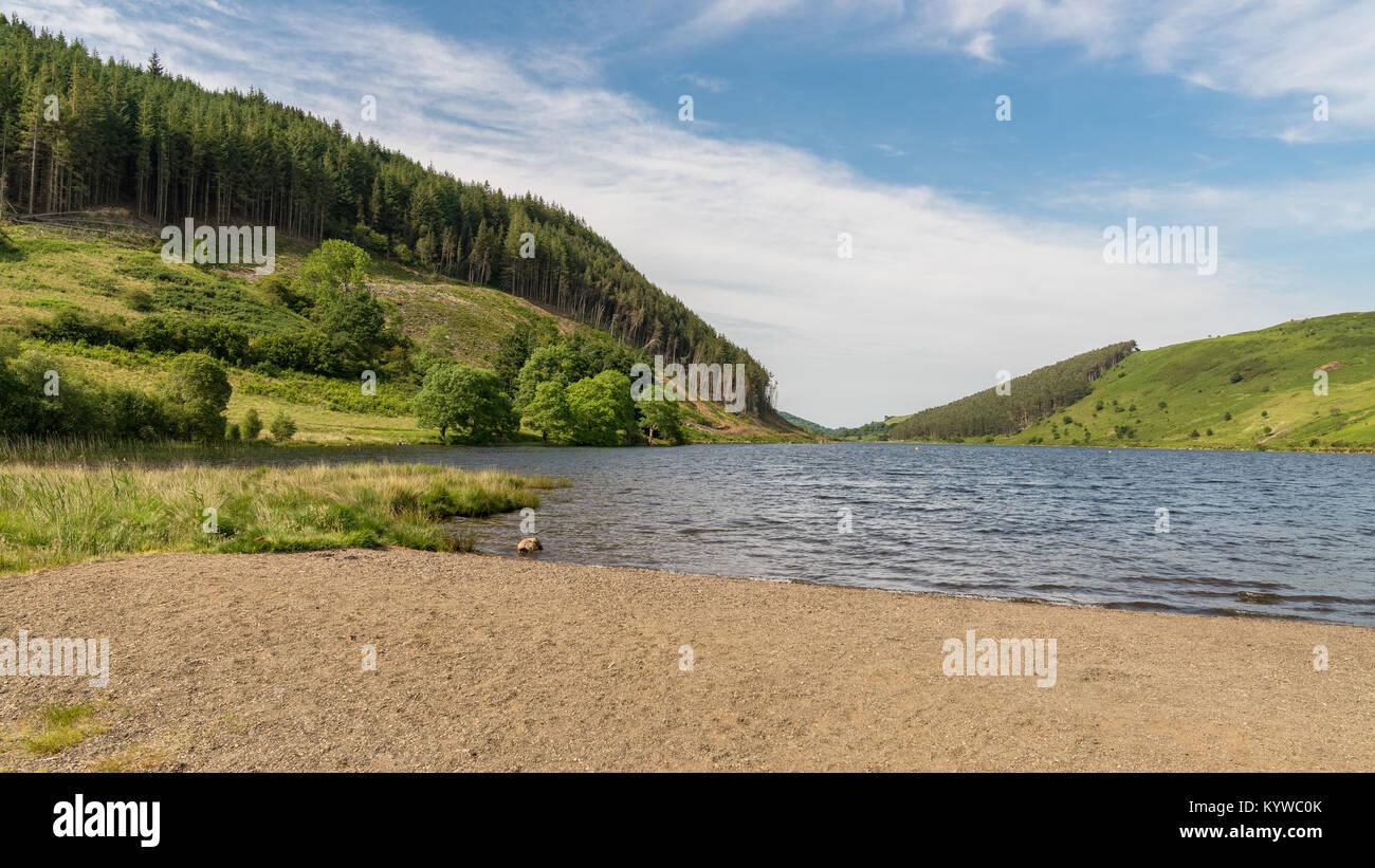 View over Llyn Geirionydd near Llanwrst, Conwy, Clwyd, Wales, UK - Stock Image