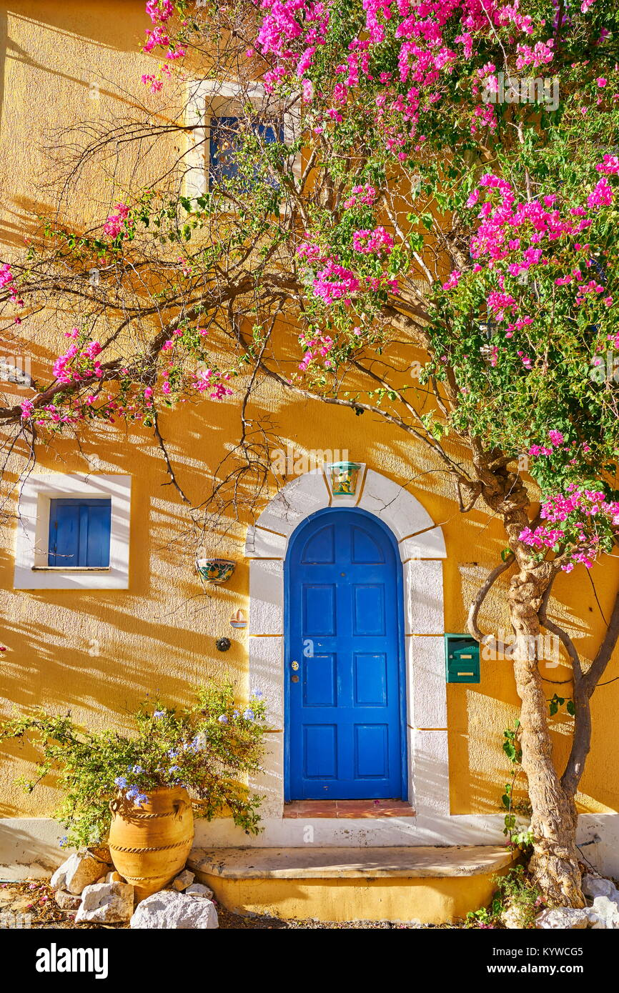 Traditional greek house with bougainvillea blooming flowers, Assos village, Kefalonia Island, Greece - Stock Image