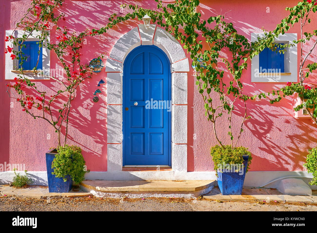 Greek house on the street in Assos village, Kefalonia Island, Greece - Stock Image
