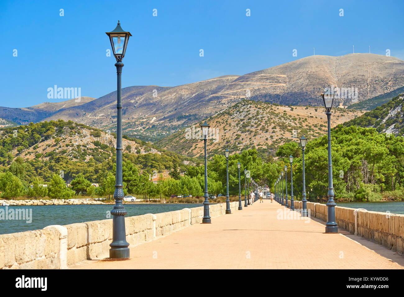 Drapanos Bridge, Agrostoli, Kefalonia Island, Greece - Stock Image