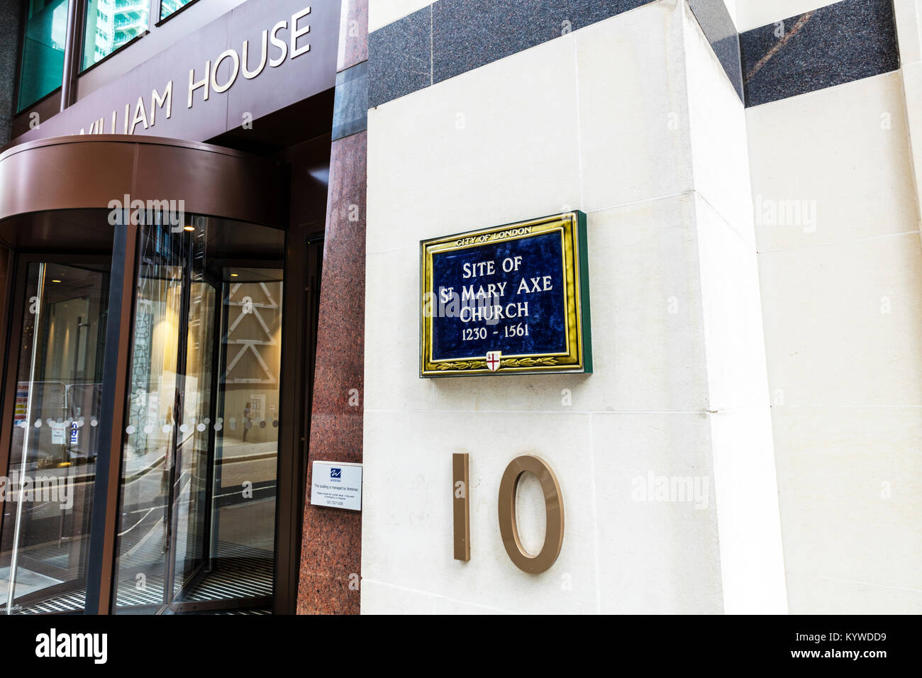 The site of St Mary Axe Church 1230 - 1561 sign plaque London uk, St Mary Axe and Leadenhall Street, Fitzwilliam - Stock Image