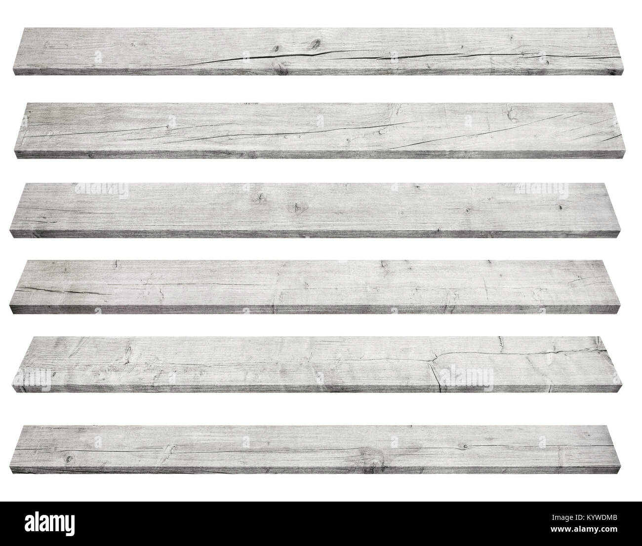 Old gray perspective wooden planks isolated on white background - Stock Image
