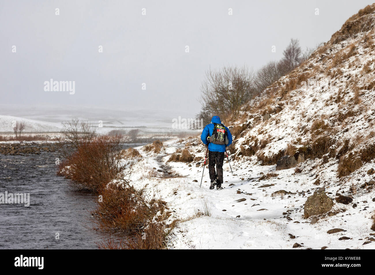 Upper Teesdale, County Durham UK. Tuesday 16th January 2018. This competitor faced some tough winter conditions - Stock Image