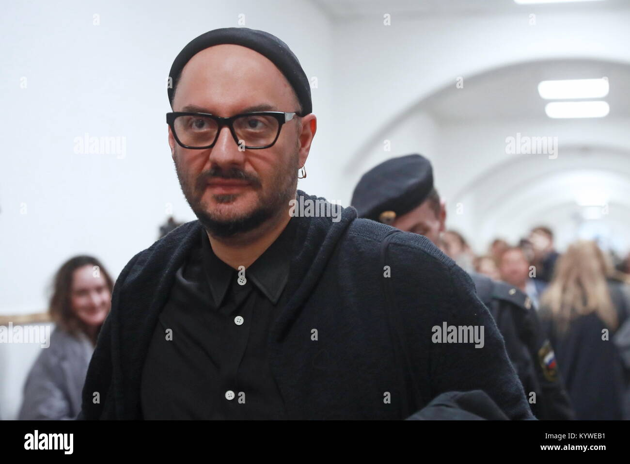 Moscow, Russia. 16th Jan, 2018. Theatre and film director Kirill Serebrennikov after a hearing into his case at - Stock Image