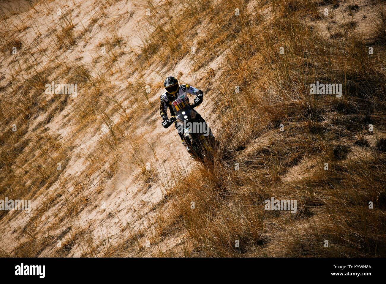 Salta, Argentina. 16th Jan, 2018. Chilean Pablo Quintanilla of Husqvarna competes during the 10th stage of the Dakar - Stock Image