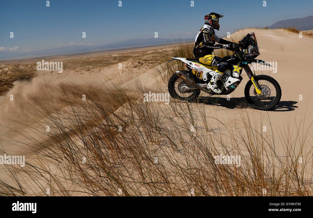 Salta, Argentina. 16th Jan, 2018. Chilean Pablo Quintanilla of Husqvarna competes during the 10th stage of the Rally - Stock Image
