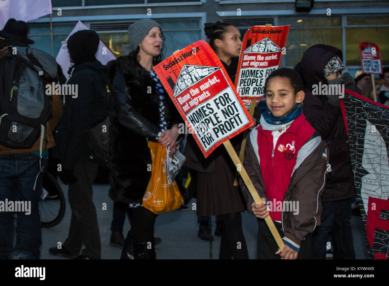 London, UK. 16th Jan, 2018. Protesters marched to a planning meeting of Southwark Council to demonstrate against Stock Photo