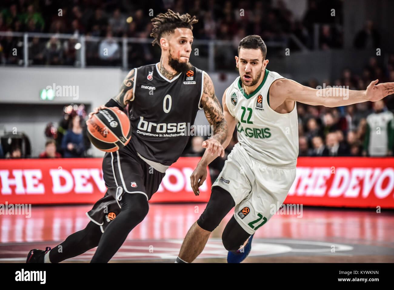 Bamberg, Germany. 16th Jan, 2018. Germany, Bamberg, Brose Arena, 16.01.2018, Basketball - Euroleague - Round 18 Stock Photo