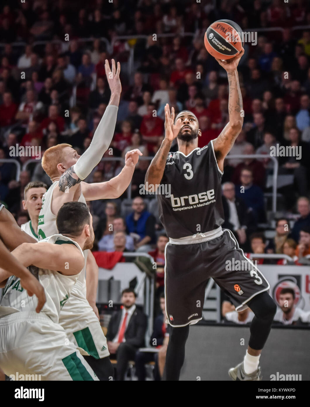 Bamberg, Germany. 16th Jan, 2018. Germany, Bamberg, Brose Arena, 16.01.2018, Basketball - Euroleague - Round 18 Stock Photo