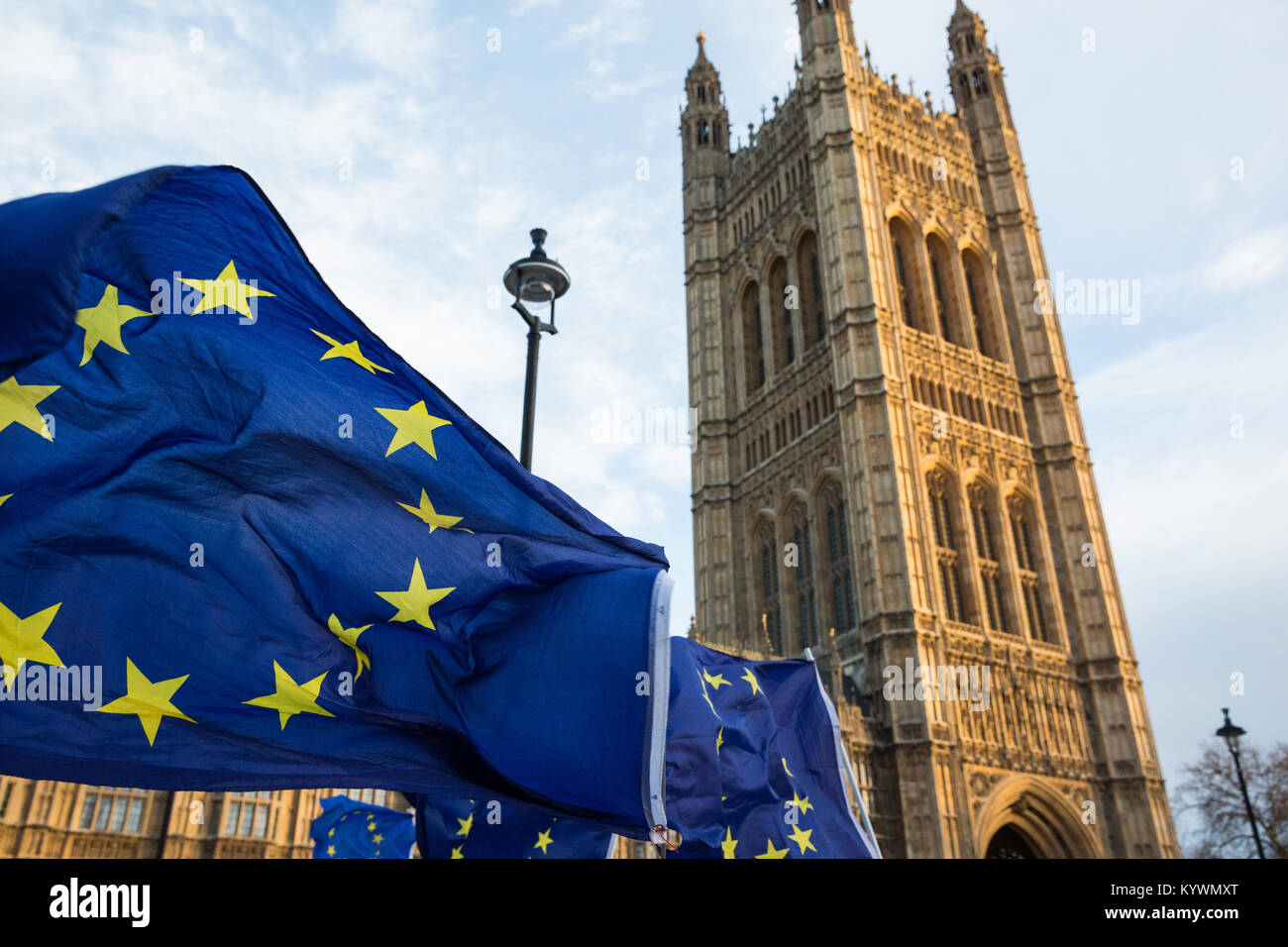 London, UK. 16th Jan, 2018. Anti-Brexit protesters from Sodem wave European Union flags and Union Jacks during a Stock Photo