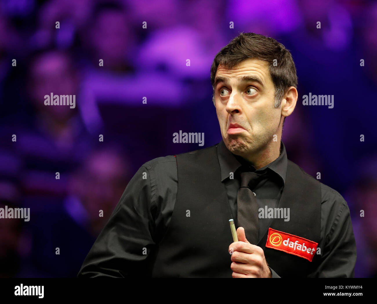 London, UK. 16th Jan, 2018. Ronnie O'Sullivan of England reacts during the first round match with Marco Fu of Hong Stock Photo