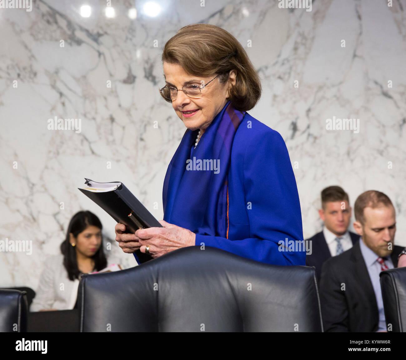 Washington, USA. 16th Jan, 2018. Senator Dianne Feinstein(D-CA) arrives for a hearing of the Senate Judiciary Committee - Stock Image