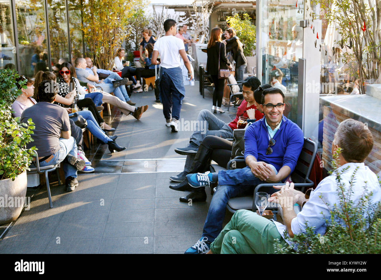 The rooftop bar / terrace at Mercado San Antón Market, Madrid, Spain - Stock Image