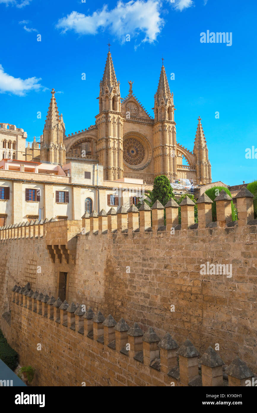La Seu Cathedral, Palma de Mallorca, Mallorca, Balearic Islands, Spain, Europe - Stock Image