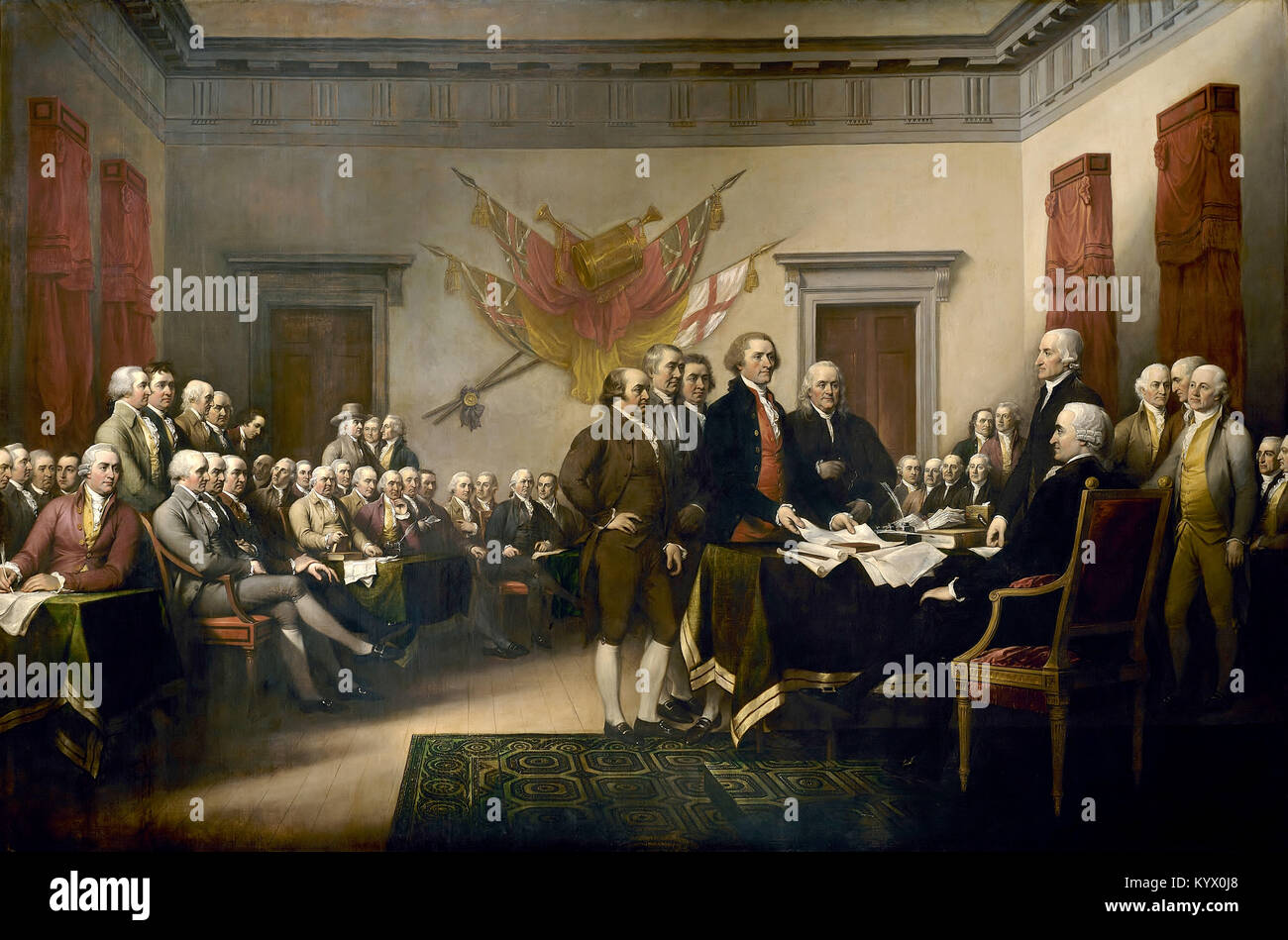 The Committee of Five of the Second Continental Congress was a team of five men who drafted and presented to the - Stock Image