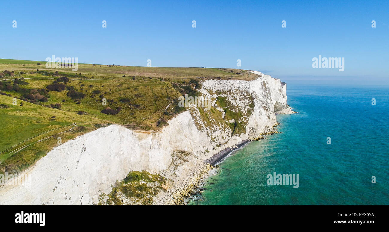 Aerial shot of the White Cliffs of Dover in Dover, Kent, UK - Stock Image