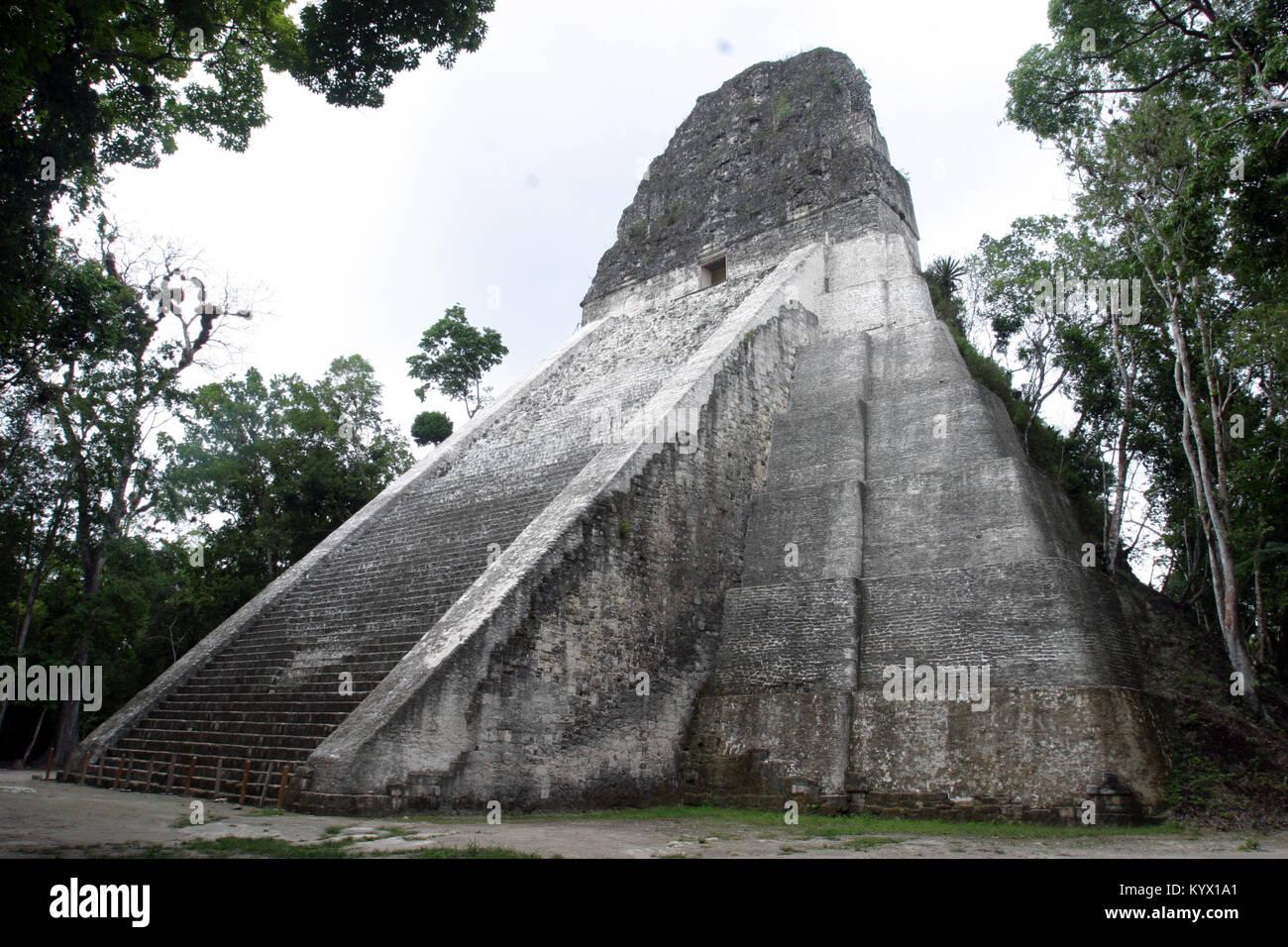 Temple 5, Tikal, Peten, Guatemala, Maya Stock Photo
