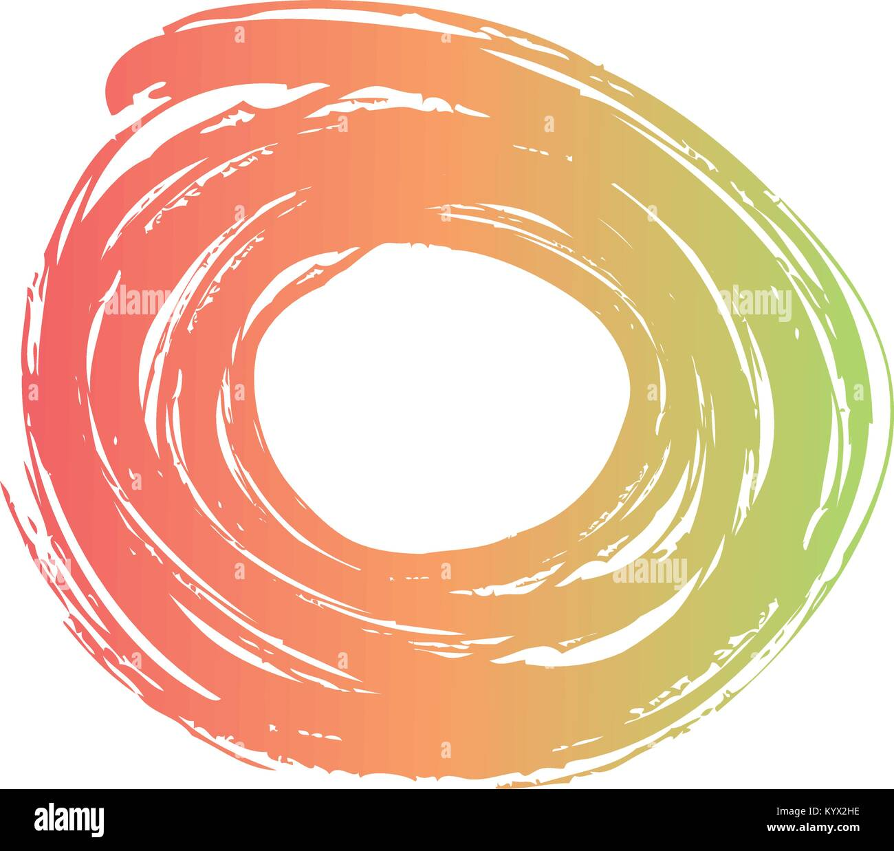 brush ink paint circle stroke blotch design - Stock Image