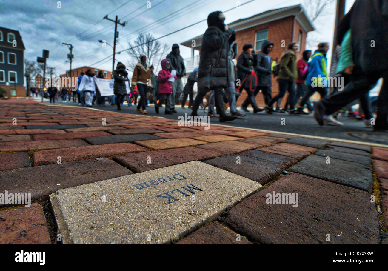 UNITED STATES - 01152018: A commemorative brick inscribed with 'MLK Dream' along Market Street sets the - Stock Image