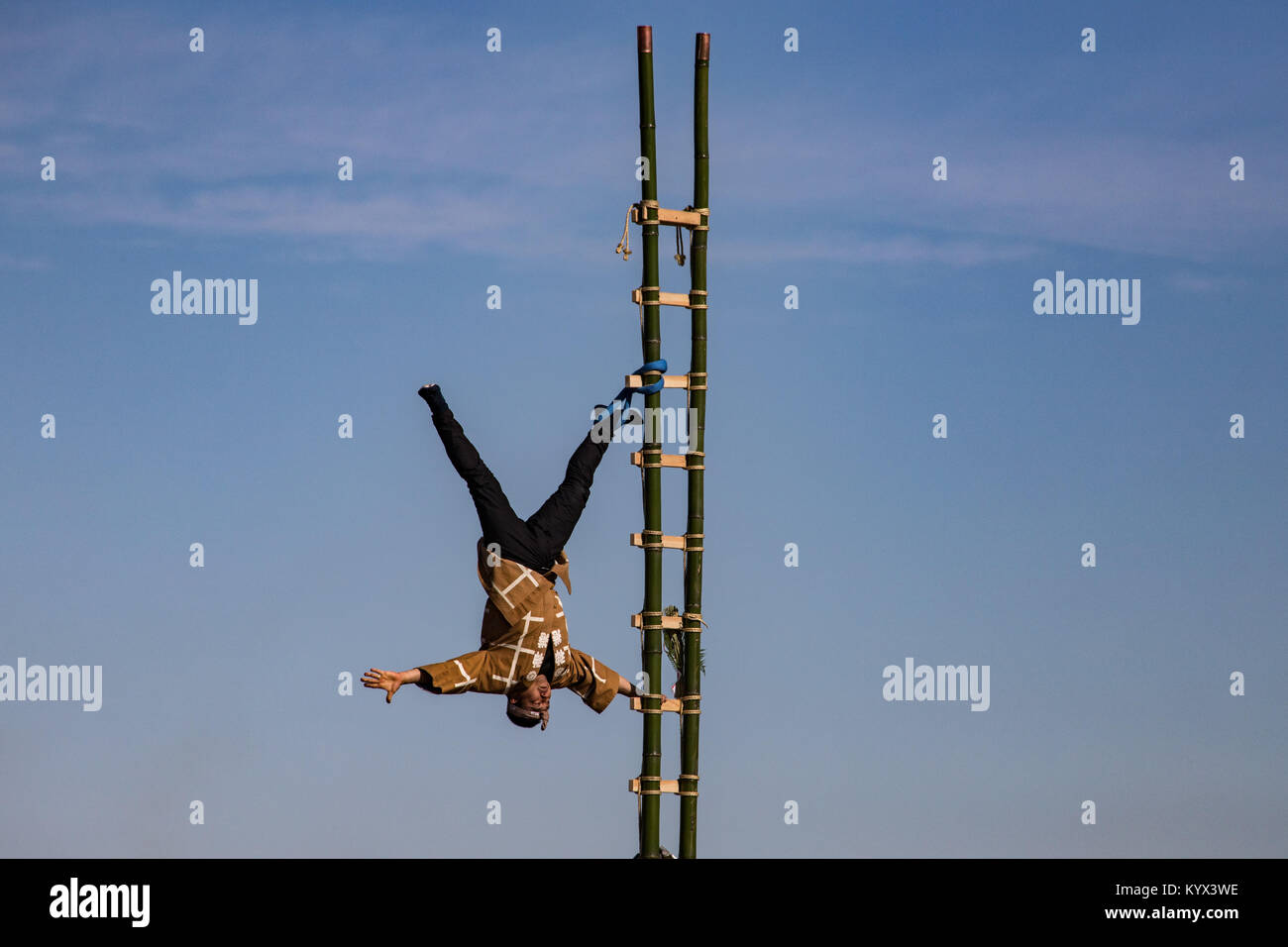 Dezome-shiki Edo Firefighter Stunts - Dezome-shiki is an annual event that takes place early January each year, - Stock Image