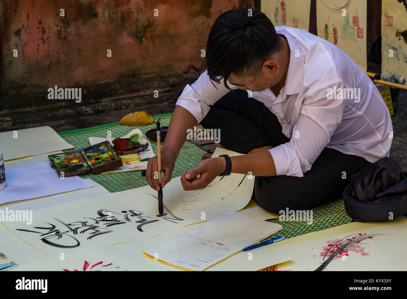 Calligraphy is widely practiced and revered by Vietnamese, East Asians and especialy the Chinese. There is a standardization - Stock Image