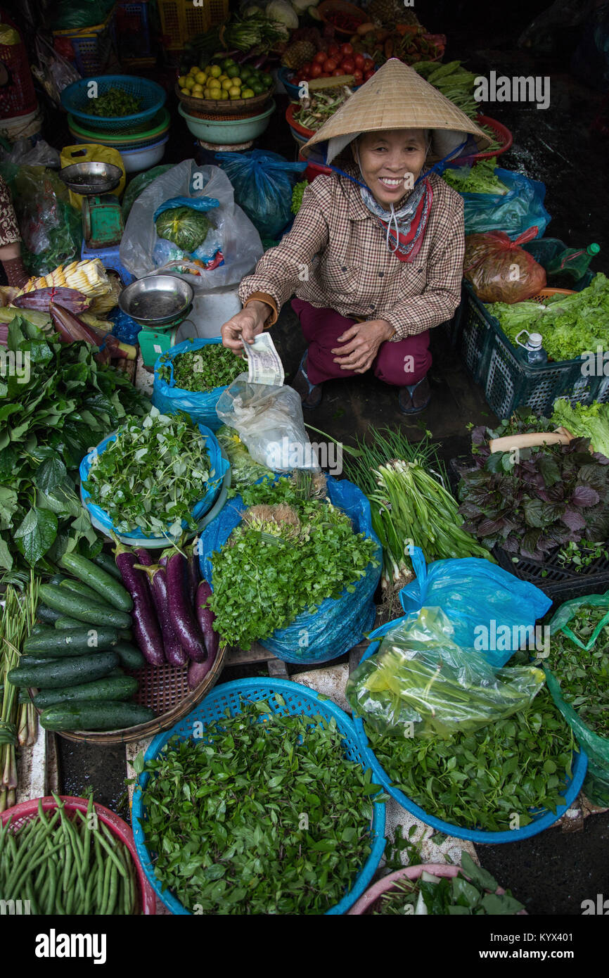 Hoi An Wet Market - Though most Vietnamese markets are very colorful and active, Hoi An's 'wet' market - Stock Image