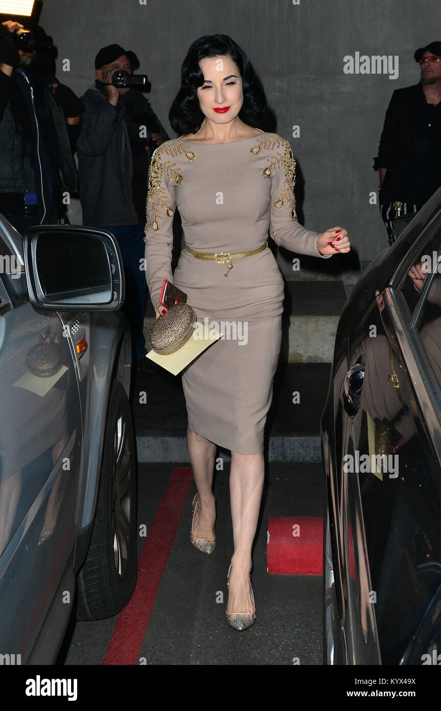 Dita Von Teese At Maxfield Store In For Her Product Colaboration Event with the store.  Featuring: Dita Von Teese Stock Photo