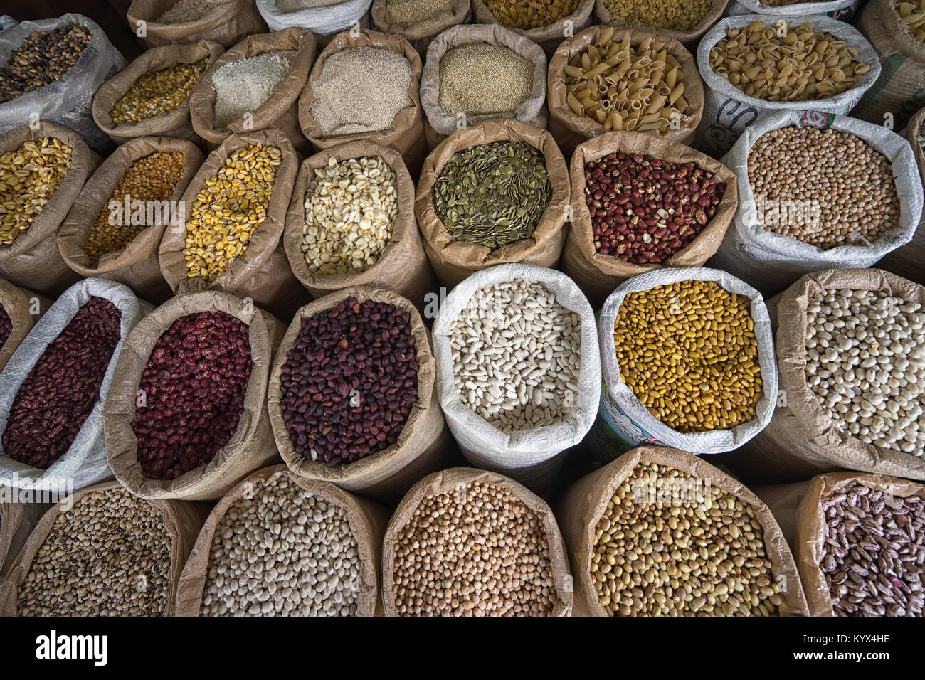 bulk dried foods in the Amazonas produce market of Ibarra, Ecuador - Stock Image