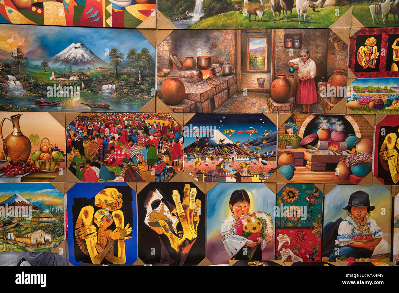 Otavalo, Ecuador - January 13, 2018: closeup of colourful indigenous paintings in the popular artisan market - Stock Image