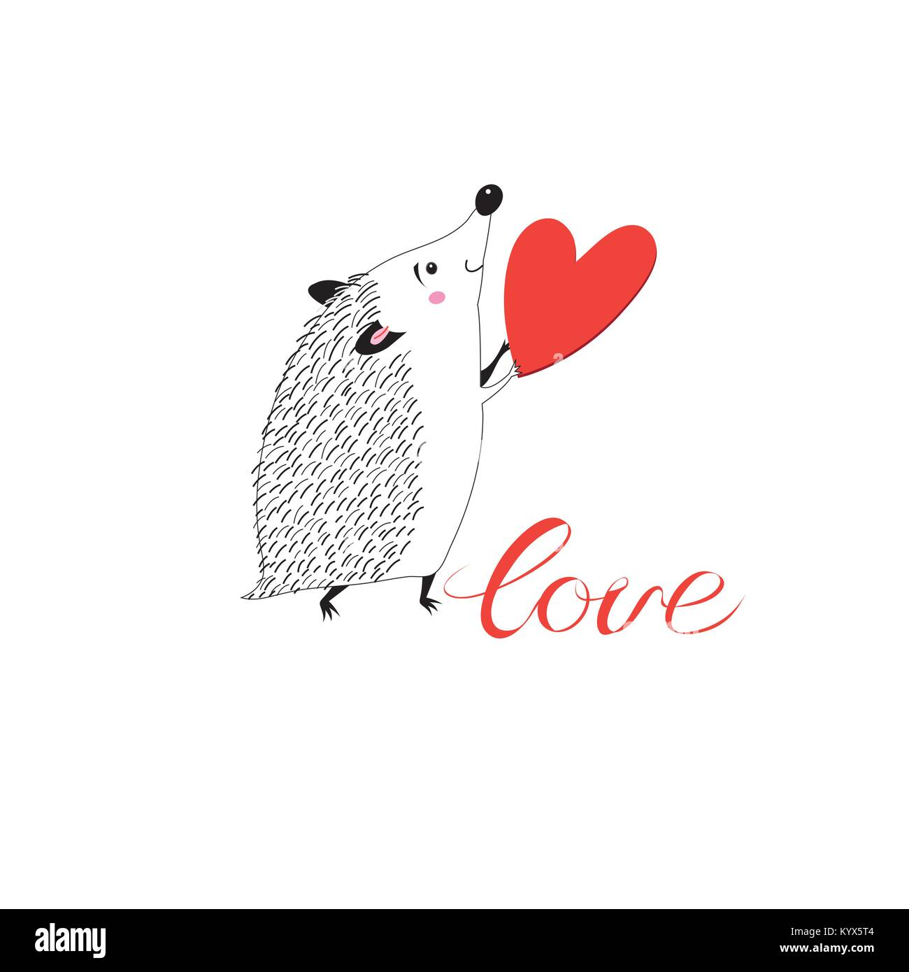Congratulatory funny hedgehog with heart  - Stock Image