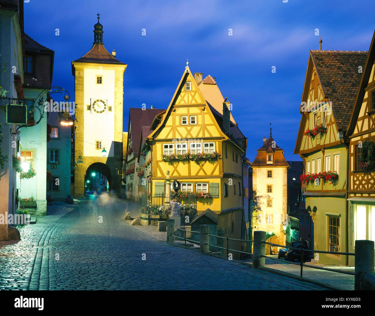 The Plonlein, Rothenburg ob der Tauber, Bavaria, Germany - Stock Image
