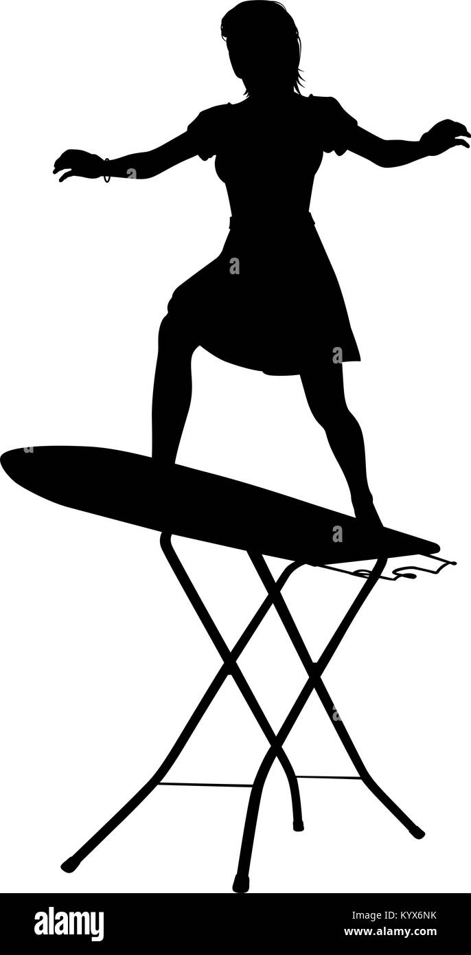 Editable vector silhouette of a housewife surfing on an ironing board with woman and board as separate objects - Stock Image