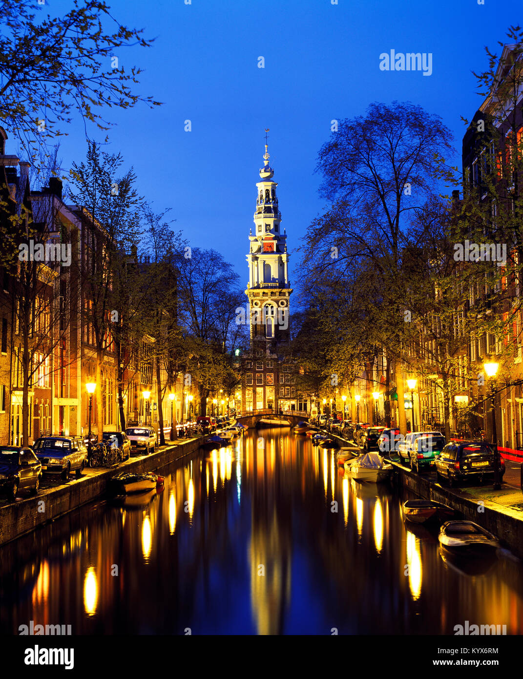 Groenburgwal and Zuiderkerk Canal, Amsterdam, Noord-Holland, Holland, the Netherlands - Stock Image