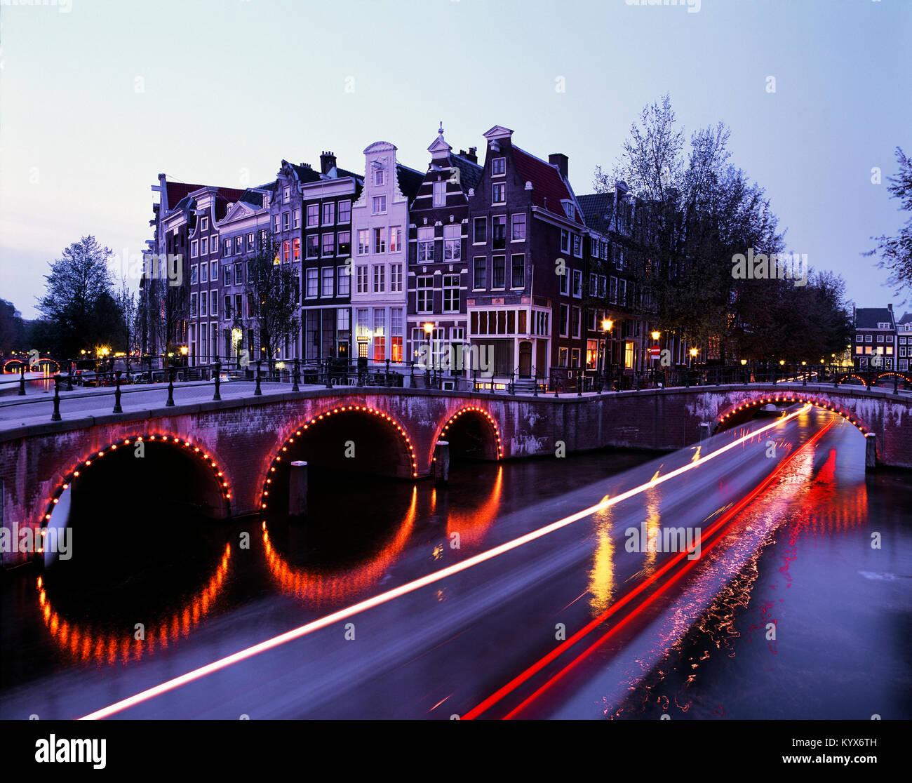 Prinsengracht at dusk, Amsterdam, Holland, Netherlands. - Stock Image