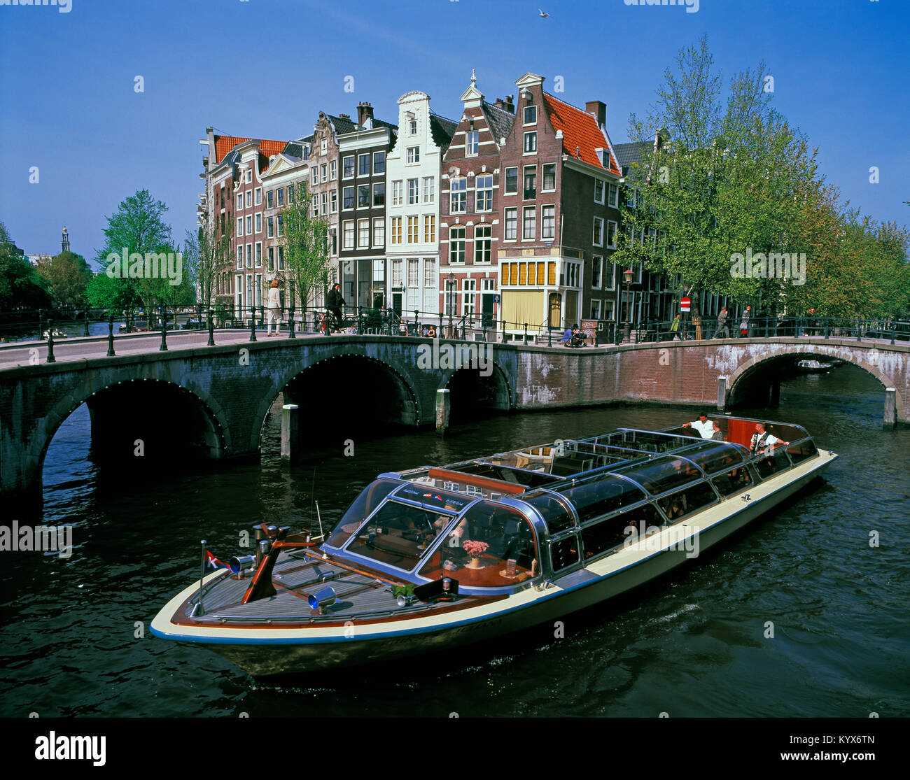 Pleasure/Tourist boat on Prinsengracht Canal, Amsterdam, Noord Holland, Netherlands - Stock Image