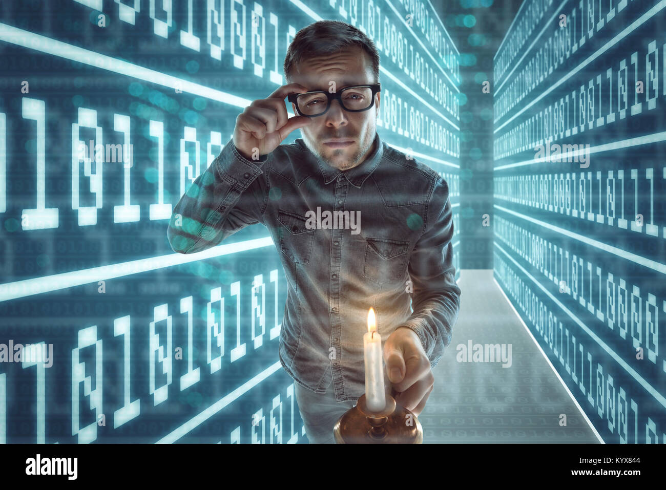 Nerd gets lost in cyberspace - Stock Image