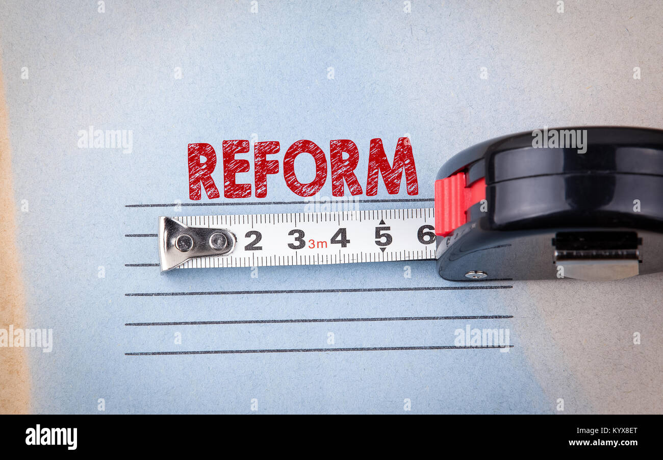 reform concept.  analysis, audit and change. health, education and budget background - Stock Image