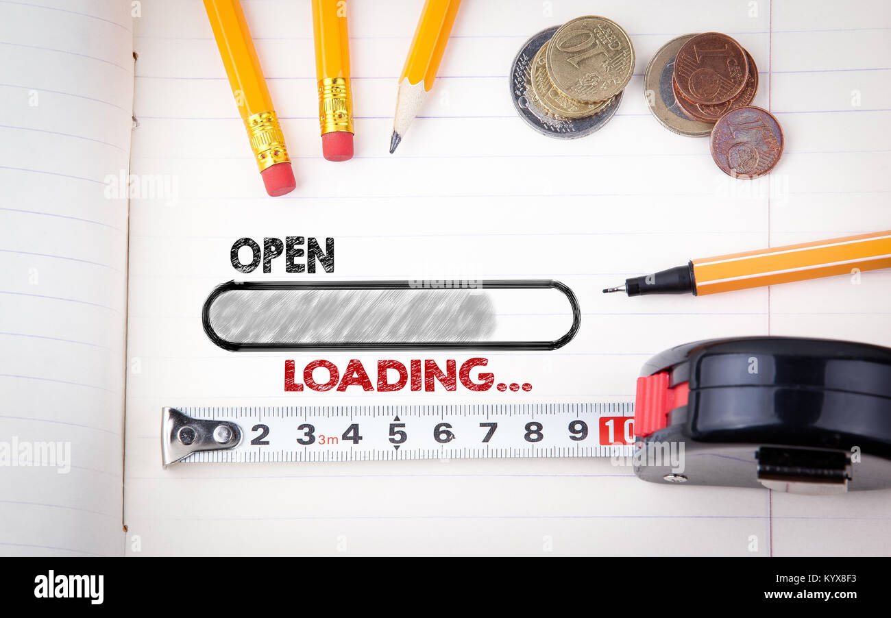 Open, Shop Store Concept. Stationery and notebook, business background Stock Photo