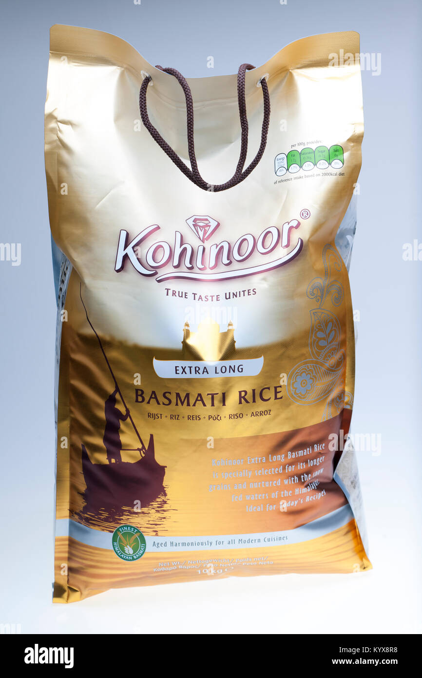 10 kg bag of Kohinoor extra long grain basmati rice - Stock Image